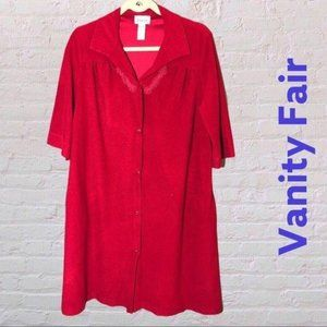 Vanity Fair vintage Velour Housecoat –  red snap